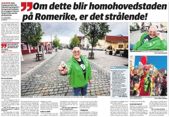 Tosiders oppslag om Jessheim Pride 2019 i Romerikes Blad 6/6-19. INGENTING var på plass på dette tidspunktet!